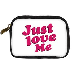 Just Love Me Text Typographic Quote Digital Camera Leather Case by dflcprints