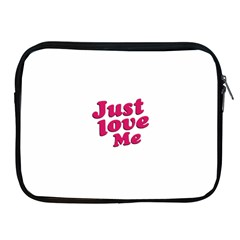 Just Love Me Text Typographic Quote Apple Ipad Zippered Sleeve by dflcprints