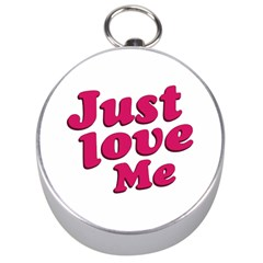 Just Love Me Text Typographic Quote Silver Compass by dflcprints