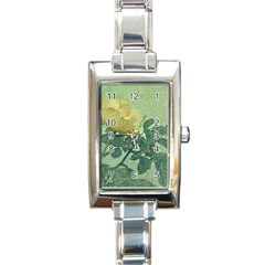 Yellow Rose Vintage Style  Rectangular Italian Charm Watch by dflcprints