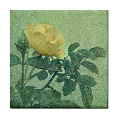 Yellow Rose Vintage Style  Ceramic Tile by dflcprints