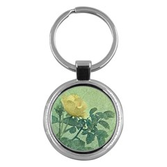 Yellow Rose Vintage Style  Key Chain (round) by dflcprints