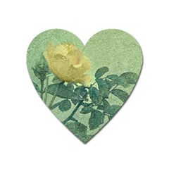 Yellow Rose Vintage Style  Magnet (heart) by dflcprints