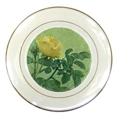 Yellow Rose Vintage Style  Porcelain Display Plate by dflcprints