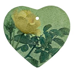 Yellow Rose Vintage Style  Heart Ornament (two Sides) by dflcprints