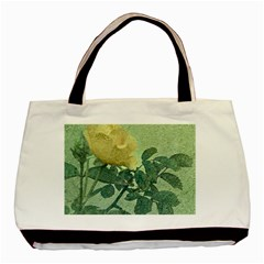 Yellow Rose Vintage Style  Twin Sided Black Tote Bag by dflcprints