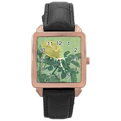 Yellow Rose Vintage Style  Rose Gold Leather Watch  by dflcprints