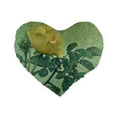 Yellow Rose Vintage Style  16  Premium Flano Heart Shape Cushion  by dflcprints