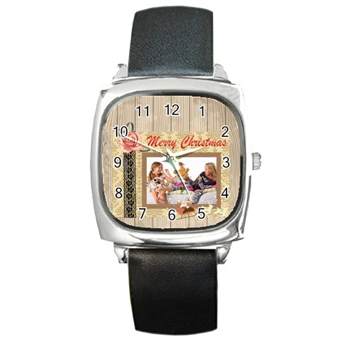 Merry Christmas By Betty   Square Metal Watch   G8zblqbo5qby   Www Artscow Com Front