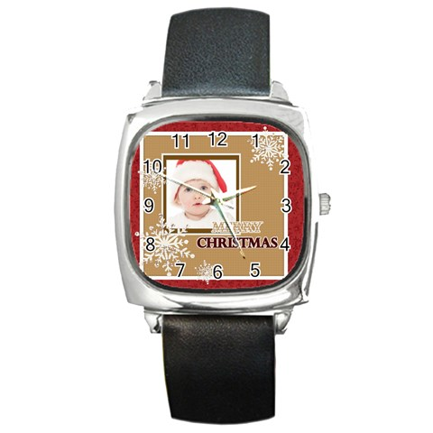 Merry Christmas By Betty   Square Metal Watch   Luqgidq4fwd7   Www Artscow Com Front