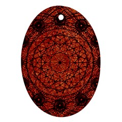 Grunge Style Geometric Mandala Oval Ornament (two Sides) by dflcprints