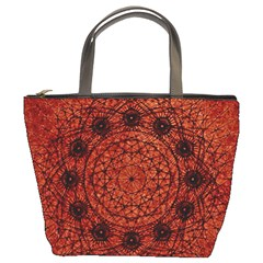 Grunge Style Geometric Mandala Bucket Handbag by dflcprints