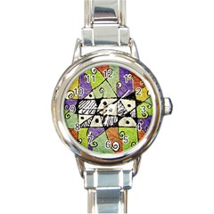 Multicolored Tribal Print Abstract Art Round Italian Charm Watch by dflcprints