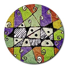 Multicolored Tribal Print Abstract Art 8  Mouse Pad (round) by dflcprints