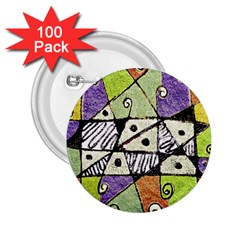 Multicolored Tribal Print Abstract Art 2 25  Button (100 Pack) by dflcprints