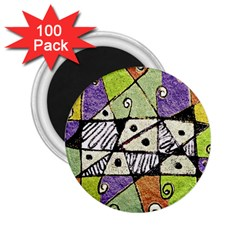 Multicolored Tribal Print Abstract Art 2 25  Button Magnet (100 Pack) by dflcprints