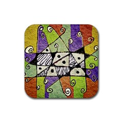 Multicolored Tribal Print Abstract Art Drink Coaster (square) by dflcprints