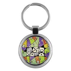 Multicolored Tribal Print Abstract Art Key Chain (round) by dflcprints