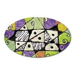 Multicolored Tribal Print Abstract Art Magnet (oval) by dflcprints