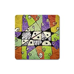 Multicolored Tribal Print Abstract Art Magnet (square) by dflcprints