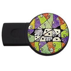 Multicolored Tribal Print Abstract Art 2gb Usb Flash Drive (round) by dflcprints