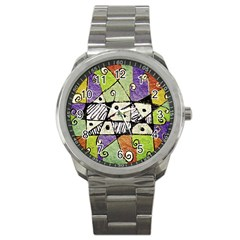Multicolored Tribal Print Abstract Art Sport Metal Watch by dflcprints