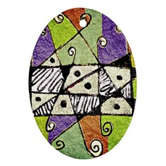 Multicolored Tribal Print Abstract Art Oval Ornament (two Sides) by dflcprints