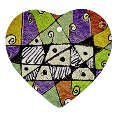 Multicolored Tribal Print Abstract Art Heart Ornament (two Sides) by dflcprints