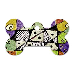 Multicolored Tribal Print Abstract Art Dog Tag Bone (one Sided) by dflcprints