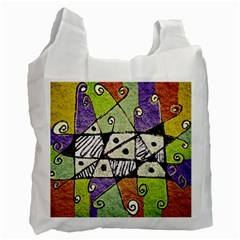 Multicolored Tribal Print Abstract Art White Reusable Bag (one Side) by dflcprints