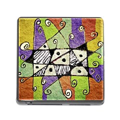 Multicolored Tribal Print Abstract Art Memory Card Reader With Storage (square) by dflcprints
