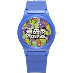 Multicolored Tribal Print Abstract Art Plastic Sport Watch (small) by dflcprints