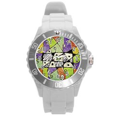 Multicolored Tribal Print Abstract Art Plastic Sport Watch (large) by dflcprints