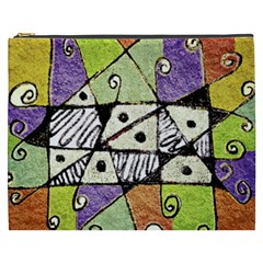 Multicolored Tribal Print Abstract Art Cosmetic Bag (xxxl) by dflcprints