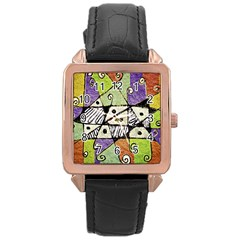 Multicolored Tribal Print Abstract Art Rose Gold Leather Watch  by dflcprints