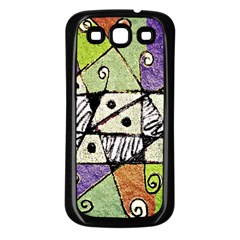 Multicolored Tribal Print Abstract Art Samsung Galaxy S3 Back Case (black) by dflcprints