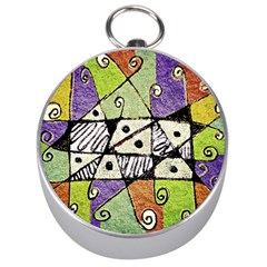 Multicolored Tribal Print Abstract Art Silver Compass by dflcprints