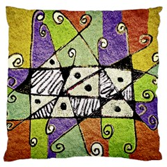 Multicolored Tribal Print Abstract Art Standard Flano Cushion Case (one Side) by dflcprints