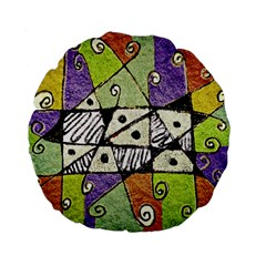 Multicolored Tribal Print Abstract Art 15  Premium Flano Round Cushion  by dflcprints
