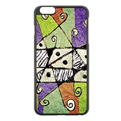 Multicolored Tribal Print Abstract Art Apple Iphone 6 Plus Black Enamel Case by dflcprints