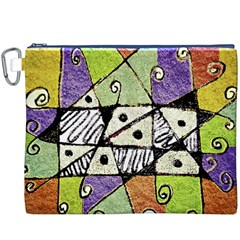 Multicolored Tribal Print Abstract Art Canvas Cosmetic Bag (XXXL) by dflcprints