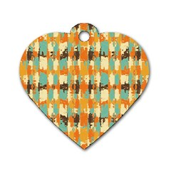 Shredded Abstract Background Dog Tag Heart (one Side) by LalyLauraFLM