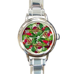 Floral Print Colorful Pattern Round Italian Charm Watch by dflcprints