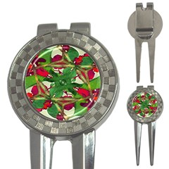 Floral Print Colorful Pattern Golf Pitchfork & Ball Marker by dflcprints