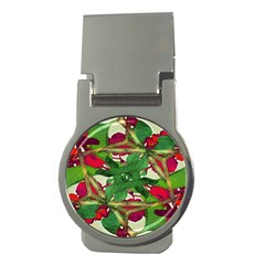 Floral Print Colorful Pattern Money Clip (round) by dflcprints