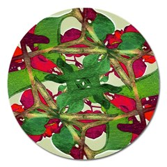 Floral Print Colorful Pattern Magnet 5  (round) by dflcprints