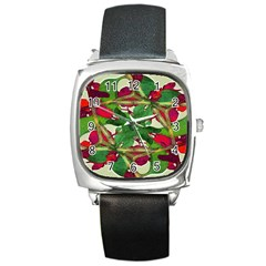 Floral Print Colorful Pattern Square Leather Watch by dflcprints