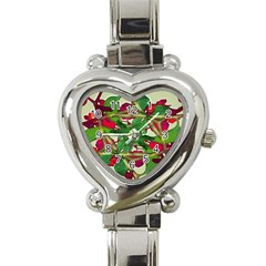 Floral Print Colorful Pattern Heart Italian Charm Watch  by dflcprints