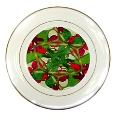 Floral Print Colorful Pattern Porcelain Display Plate by dflcprints