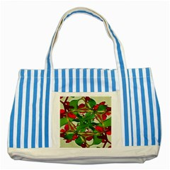 Floral Print Colorful Pattern Blue Striped Tote Bag by dflcprints
